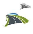 Icon of road among green fields vector image vector image