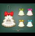 Label paper and colorful ribbons Merry Christmas vector image vector image