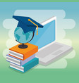 laptop with education online service vector image vector image