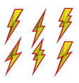 Lightning bolt flash icons set