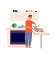 man chef guy cutting fish in kitchen cooking vector image vector image