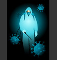 man in hazmat suit carrying disinfectant spray vector image