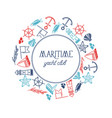 maritime yacht club round figured frame poster vector image vector image