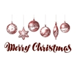 Merry Christmas Xmas decorations and balls vector image vector image