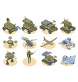 military robots isometric icons set vector image vector image