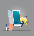 mobile hacker and cyber security concept vector image vector image