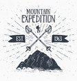 mountain expedition vintage label retro badge vector image vector image