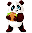 Panda eats hamburger vector image