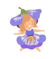 pretty little girl wearing cobalt blue flower vector image vector image