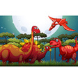 Red dinosuars under full moon in nature vector image vector image