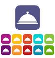 restaurant cloche icons set vector image vector image