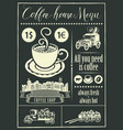 retro banner with a cup coffee and vintage cars vector image