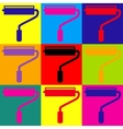 Roller sign Pop-art style icons set vector image