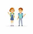 school children - characters of happy boy and girl vector image