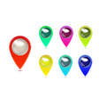 set of colorful map markers gps location symbol vector image