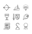 set of medieval icons in sketch style vector image