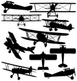 Silhouettes of old aeroplane - biplane vector image vector image