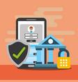 smartphone bank security wallet digital blockchain vector image vector image