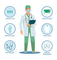 surgeon or doctor with isolated items for work vector image