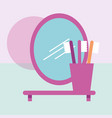 toothbrushes in shelf and oval mirror bathroom vector image vector image