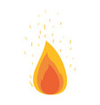 white background with flame and fire sparks vector image vector image