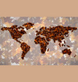 world map of maple leaves vector image vector image