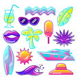 set of stylized summer objects abstract vector image