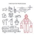 Profession fireman line set of icons vector image