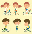 school girls on the bikes vector image
