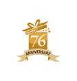 76 years gift box ribbon anniversary vector image vector image