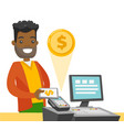 a black man paying at cashbox with his smartphone vector image vector image