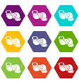 adapter pipe icons set 9 vector image vector image