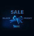 black friday sale banner with ribbon bow symbol vector image