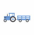 blue tractor with trailer vector image vector image