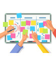 board with empty stickers or notes people hands vector image