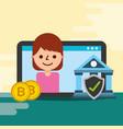 business woman bank bitcoin digital check mark vector image vector image