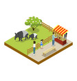 cage with tapirs isometric 3d icon vector image vector image