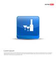 champagne bottles icon - 3d blue button vector image