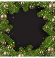 christmas shiny background with fir branches vector image vector image