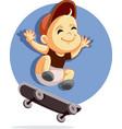 cute baon a skateboard cartoon vector image
