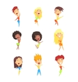 Cute Female Character Rejoicing vector image vector image