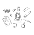 Dental sketch icons with medical items vector image