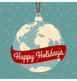 earth globe Christmas greeting card design vector image vector image