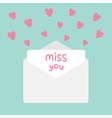 Envelope with hearts Miss you card vector image
