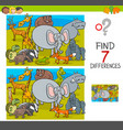 find differences game with wild animal characters vector image vector image