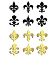 Fleur de lis in black and gold vector image