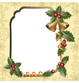 frame with holly vector image vector image