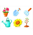 gardening icons set - flower pot shovel rake vector image vector image
