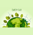 green planet earth with wind farm vector image vector image