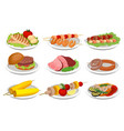 grilled food set delicious dishes for barbecue vector image